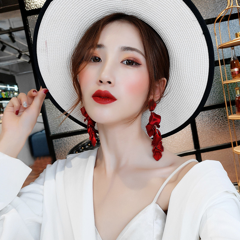 HTB1zeJmd8OD3KVjSZFFq6An9pXaD - Korean New Fashion Temperament Alloy Women Pendant Earrings Sexy Rose Petals Long Tassel Earrings Women Jewelry Red Earrings
