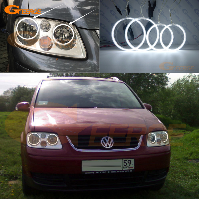 For Volkswagen VW Touran 2003 2004 2005 2006 Excellent Angel Eyes Ultra bright illumination ccfl angel eyes kit Halo Ring for alfa romeo 147 2000 2001 2002 2003 2004 halogen headlight excellent ultra bright illumination ccfl angel eyes kit halo ring