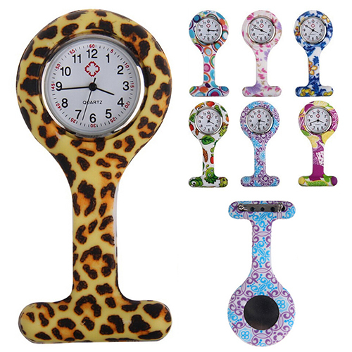 New Fashion Patterned Silicone Nurses Brooch Tunic Fob Pocket Watch Stainless Dial  N76Y 8JYK