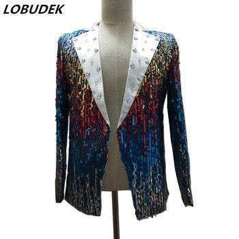 Shining Colorful Sequins Jacket Men Slim Reflective Paillette Jackets Coat Nightclub Singer Host Show Outfit DJ Dancer Costumes