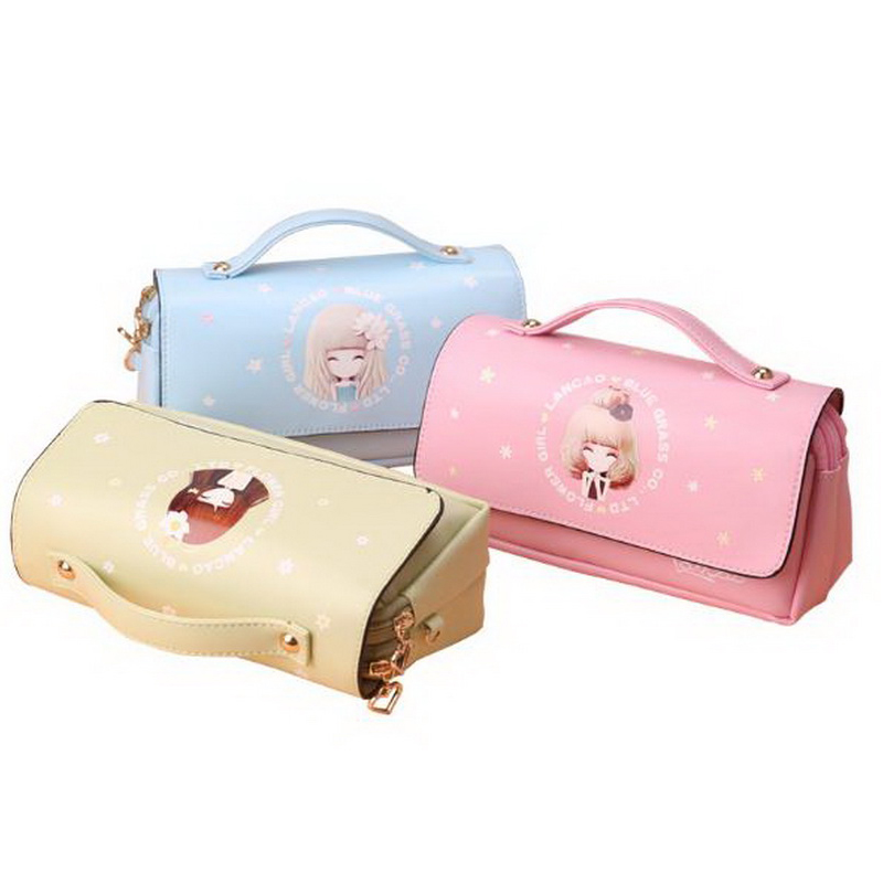 220701/Pencils Korean simple girl pencils girl creative password lock stationery bag stationery box pencil case pen bag female korean simple creative pu handbag cosmetic bag stationery simple large capacity student pencil case