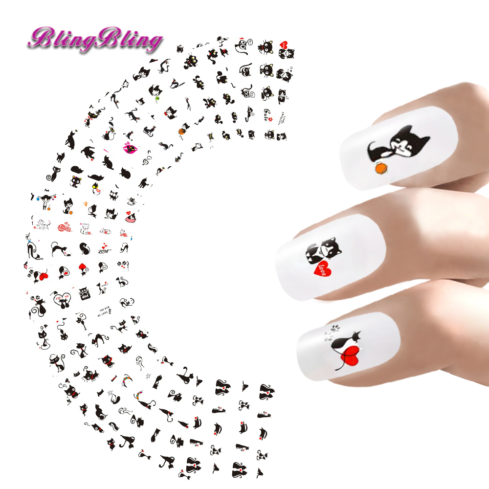 Blingbling 24sheets Nail Stickers Lovely Cat Water Transfer Sticker Decals Cute Cartoon Nail Wraps Manicure Nail Art Decoration стоимость