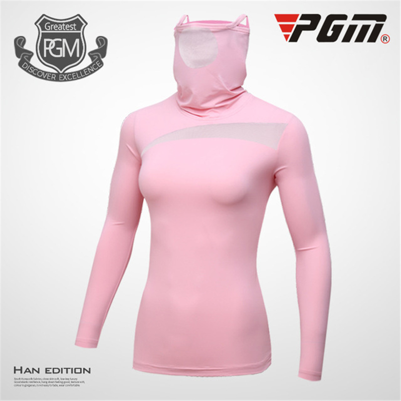 Pgm Gollf Womens Tops Sun Protection Long Sleeve T Shirts Ladies Mask Ice Silk Shirts Female Quick Dry Tops AA60446