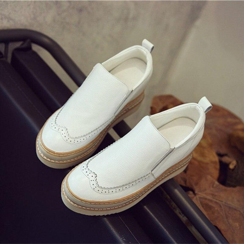 Chaussures plates femmes 2019 printemps automne chaussures à plate-forme en cuir véritable femme mocassins chaussures de sans lacet pour femmes chaussure blanche pour femme