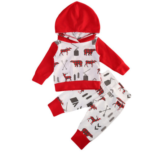 2PCS Toddler Baby Boys Long Sleeve Hooded Tops Pants Home Outfits Set Clothes