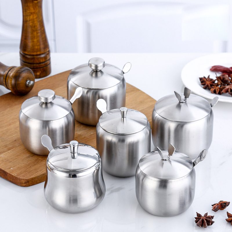 304 Stainless Steel Spice Box With Spoon Chili Oil Tank Pepper Herb Sugar Salt Seasoning Storage Jar Kitchen Cooking Tool in Salt Pigs Cellars Servers from Home Garden