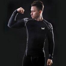 3D Male Advanced Print Compression Shirt Slim Fit Skins Tight Long Sleeve T-shirt Men's Bodybuilding Crossfit MMA Shirt