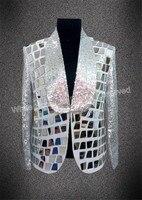 2018 модная мужская Облегающая майка Серебряная куртка с блестками зеркало певец DJ Бар ночной клуб одежда мужские костюмы на заказ блейзер