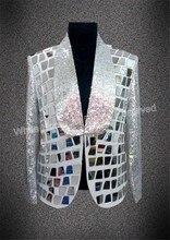 2018 men's fashion slim silver sequins jacket mirror male singer DJ bar nightclub wear men costume customize blazer