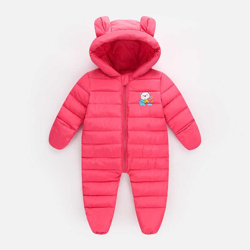 Детские комбинезоны, комплект одежды для новорожденных девочек, милый комбинезон с объемными ушками медведя, комплект одежды для маленьких мальчиков, осенне-зимний теплый комплект одежды bebe