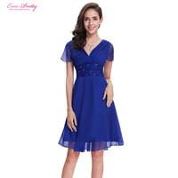 Ever Pretty Cheap Cocktail Dresses EP03882 A Line Short Sleeve V Neck Ruched Bust Chiffon New Fashion 2018 Graduation Dresses