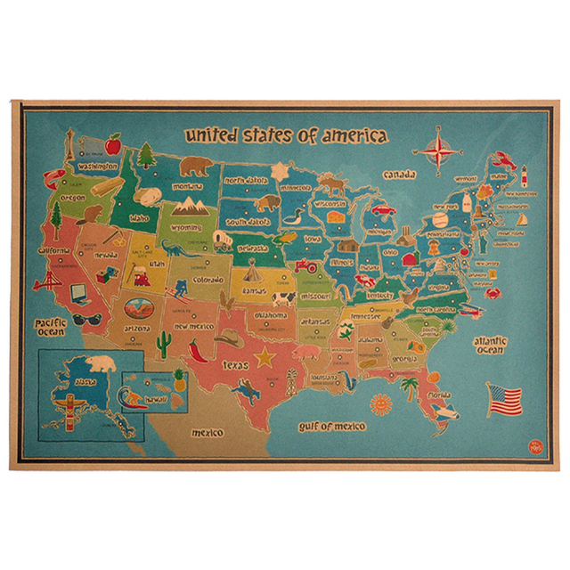 Vintage USA America Animal Plant map retro wall art crafts sticker