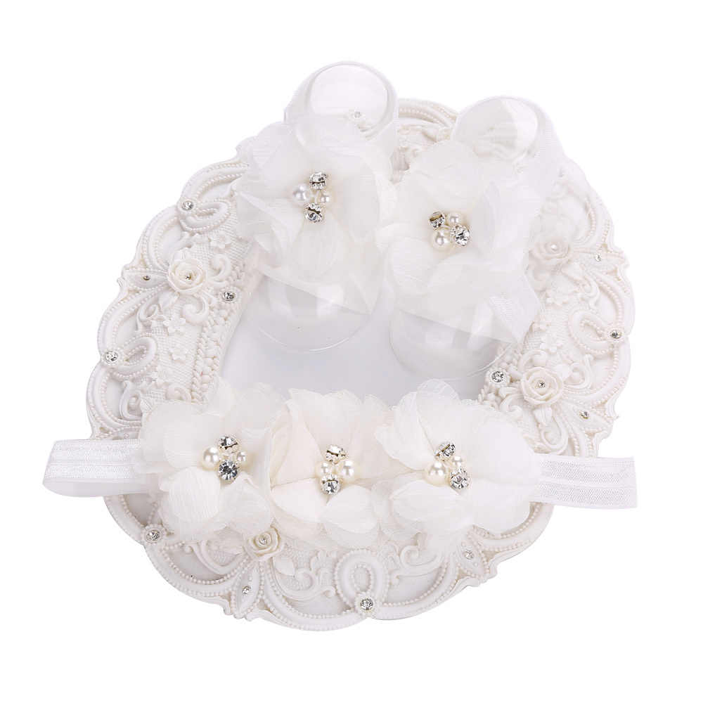 Ivory Christening Baby Shoes Girls Toddler Flower Rhinestone/pearl Headband Barefoot Shoes Set Children Accessories
