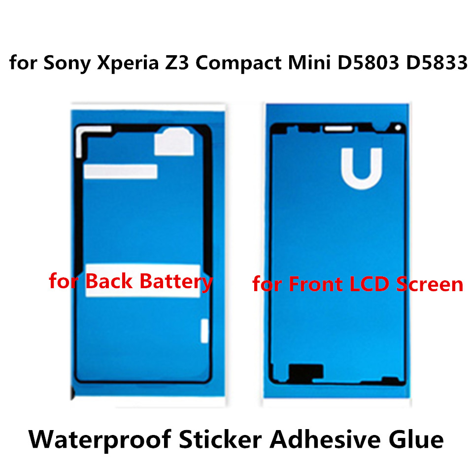Housing Frame Waterproof Adhesive For Sony Xperia Z3 Compact Mini D5803 D58 Front LCD Sticker Back Cover Full Set Tape Glue