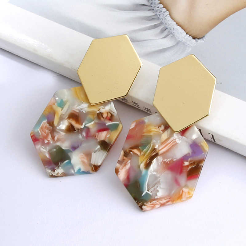 Statement Tortoiseshell Acetate Resin Acrylic Za Drop Earrings colorful Earing Gold Geometric Earings Fashion Jewelry 2018 New