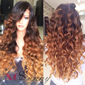 Top 8A  3 Tone Ombre Auburn Honey Blonde Full Lace Human Hair Wigs With Bangs 200 Density Lace Front Human Hair Wigs Ombre Color