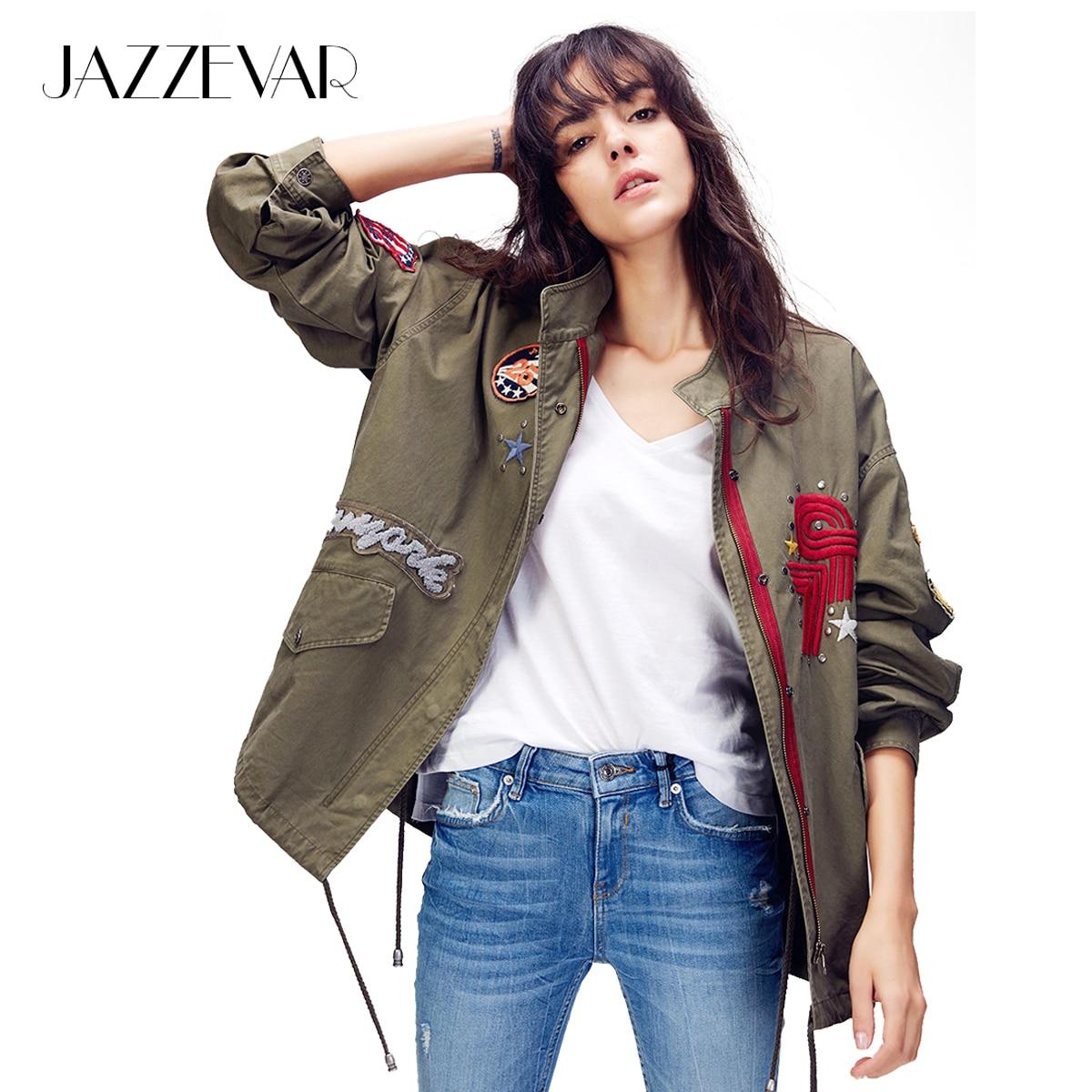 JAZZEVAR 2019 Autumn New Women s Embroidery Rivet Casual Cotton zipper jacket appliques Vintage Washed Loose