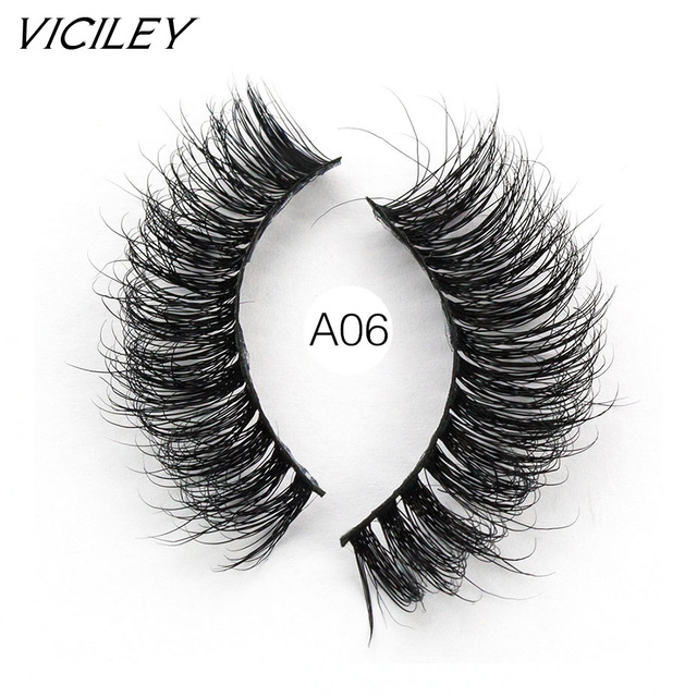 VICILEY Mink Lashes False Eyelashes Soft Natural Eyelashes Handmade Fake Eye Lash Extension for Makeup-A06
