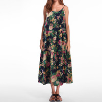 2018 Summer Celmia Women Retro Sleeveless Boho Floral Print Loose Beach Cotton Linen Slip Dress Midi