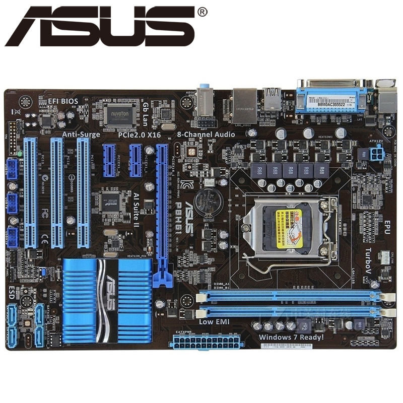 Asus P8H61 Desktop Motherboard H61 Socket LGA 1155 i3 i5 i7 DDR3 16G uATX UEFI BIOS Original Used Mainboard On Sale asus p8b75 m lx desktop motherboard b75 socket lga 1155 i3 i5 i7 ddr3 16g uatx uefi bios original used mainboard on sale
