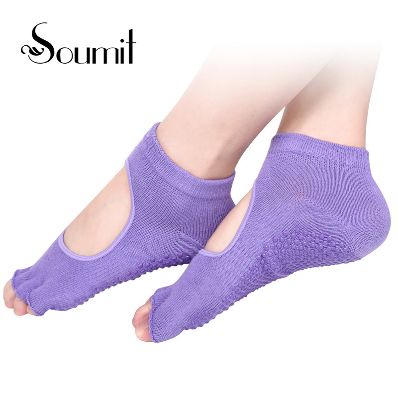 Soumit 5 Colors Professional Yoga Socks Heel pads Ballet Non-slip Five Finger Toe Sport Massaging Socks Inserts Pad