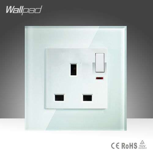 13A UK Switched Socket Wallpad White Crystal Glass 110v-250V 1 Gang Button Switch and 13A UK Standard Socket Free Shipping 10a universal socket and 3 gang 1 way switch wallpad 146 86mm white crystal glass 3 push button switch and socket free shipping