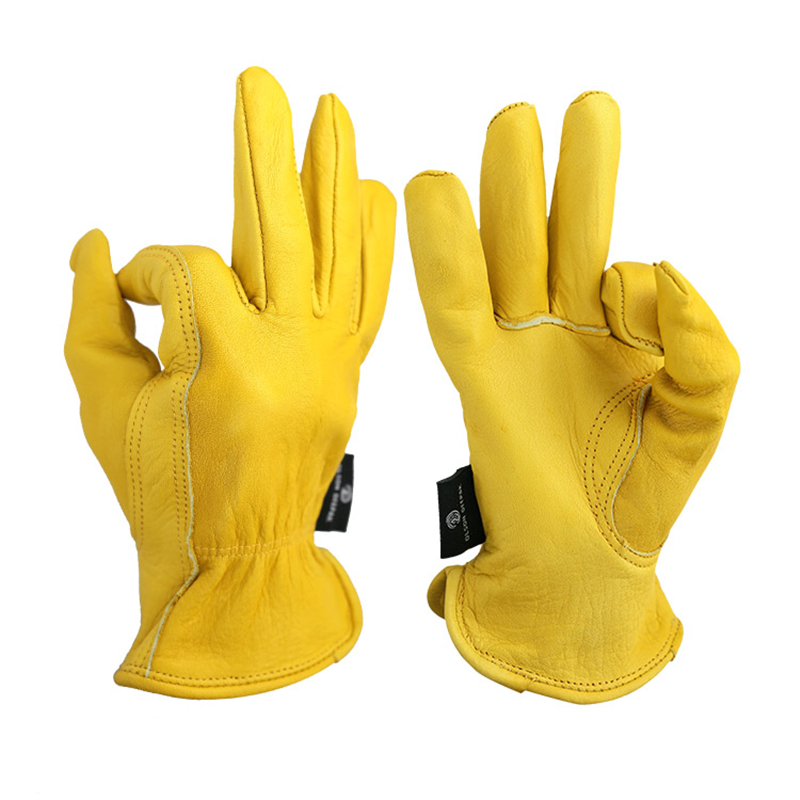 Work Leather Gloves Motorcycle Gardening labouring work 100 Cowhide Leather Safety Working Glove Men Women By