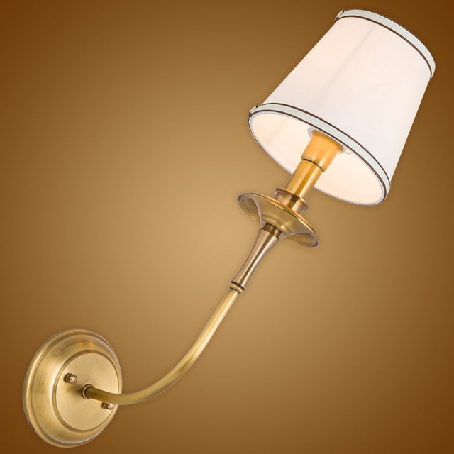 Modern Wall Lamp Real Copper Wall Sconces Fabric Lampshade Bathroom ...