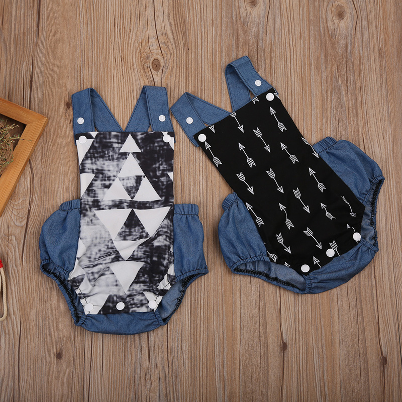 Newborn Baby Boy Denim Bodysuit Arrows Triangle Print Romper Clothes bodysuit baby girl clothes Outfits