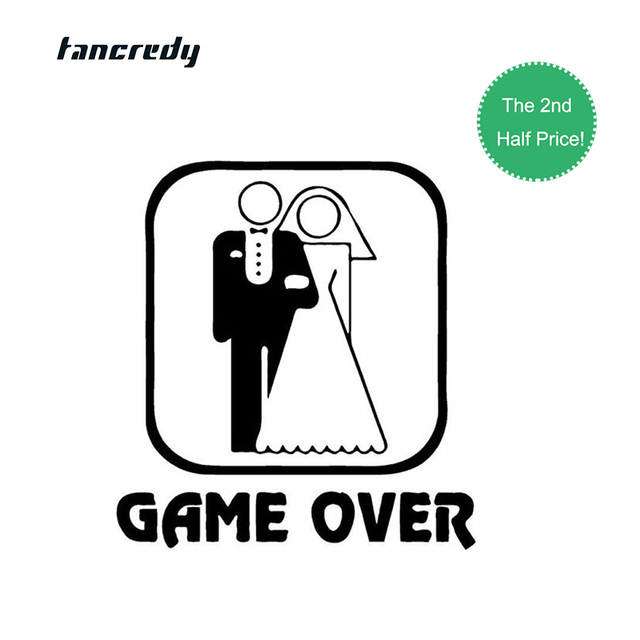 Tancredy 3d sticker 13 914 6cm wedding game over car styling sticker funny decals motocycle