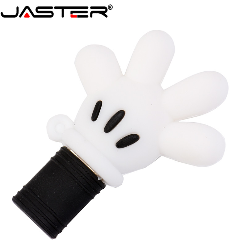 JASTER Mickey Palm USB 2.0  Flash Drive Pendrive 4GB 8GB 16GB 32GB 64GB Mickey Hand Memory Disk Thumb Drive Pen Drive Wholesale