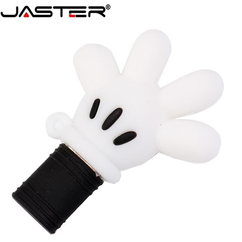 JASTER Mickey Palm USB 2.0  Flash Drive Pendrive 4GB 8GB 16GB 32GB 64GB Mickey Hand Memory Disk Thumb Drive Pen Drive Wholesale