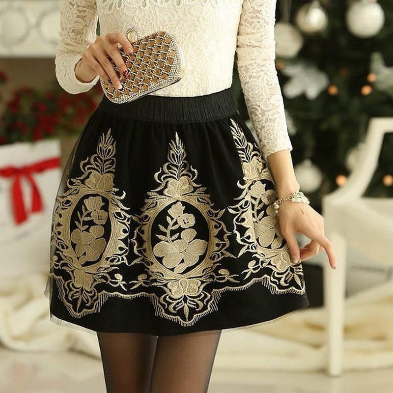 Golden Embroidery Tulle Skater Skirts Womens Floral Double Slit Skirt High Waist Skorts Vintage Pleated Winter Skort