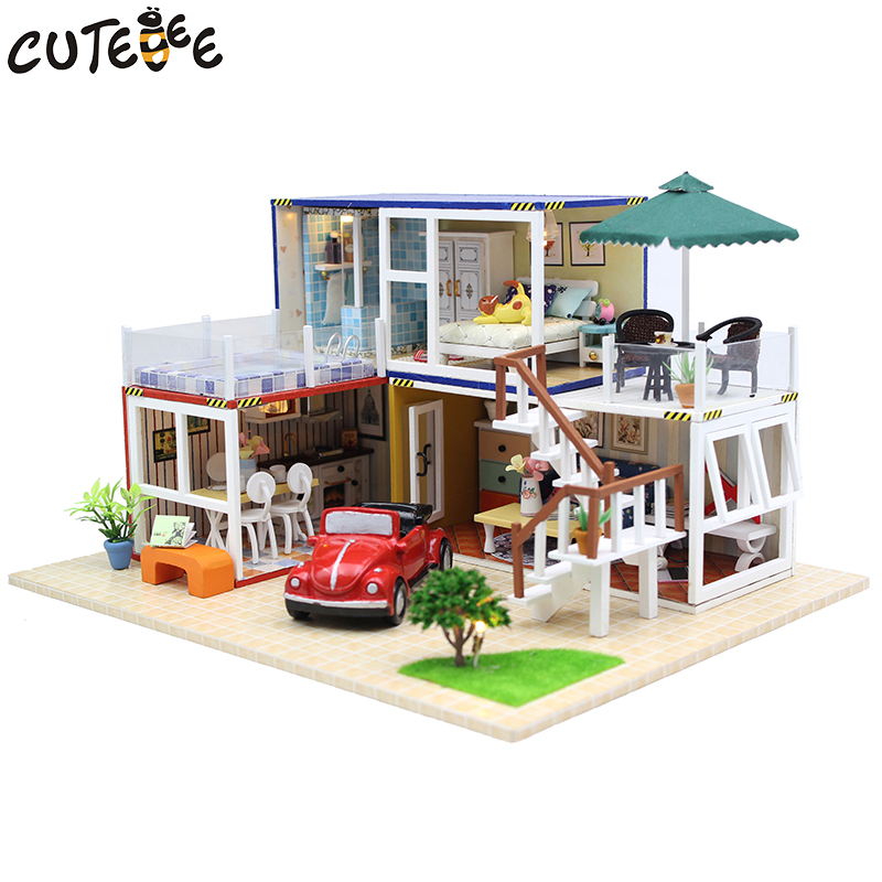 CUTEBEE Doll House Miniature DIY Dollhouse With Furnitures Wooden House Countryard Dweling Toys For Children Birthday