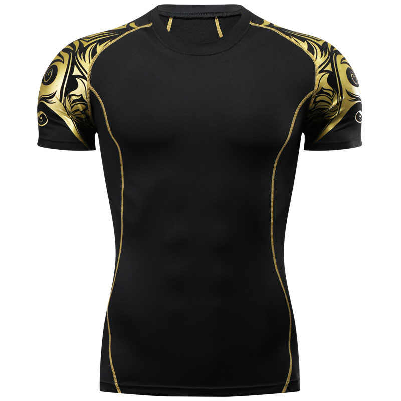 3D MMA Rashguard T Shirt Clothing Compression Shirt Quick Dry Muay Thai Breathable Comfortable Boxing Jerseys Fight MMA Golden