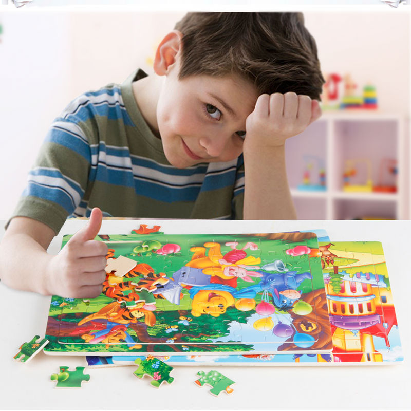 Free Shipping Kids Wooden Toys 60pcs Puzzle Cartoon