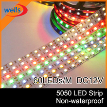 free shipping 5050 LED Strip fiexible light 60Led/m,RGB,White,Warm White,Red,Green,Blue,Yellow,5m 300Led,non-waterproof DC 12V