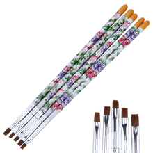 5 Pcs Flower Pattern Nail Art Flat Brush Set Gel Polish Tips 3D Design Painting Drawing Building Extending Pro Manicure Pen Kit