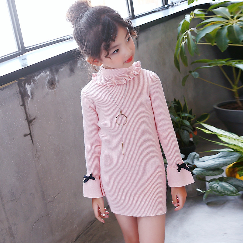Little Girls Sweater Dresses Winter Knitting Dresses Kids Girl Long Sweaters 2018 Fall Big Girls Long Sweater High Neck Dress pink knitting ripped details v neck long sleeves sweaters