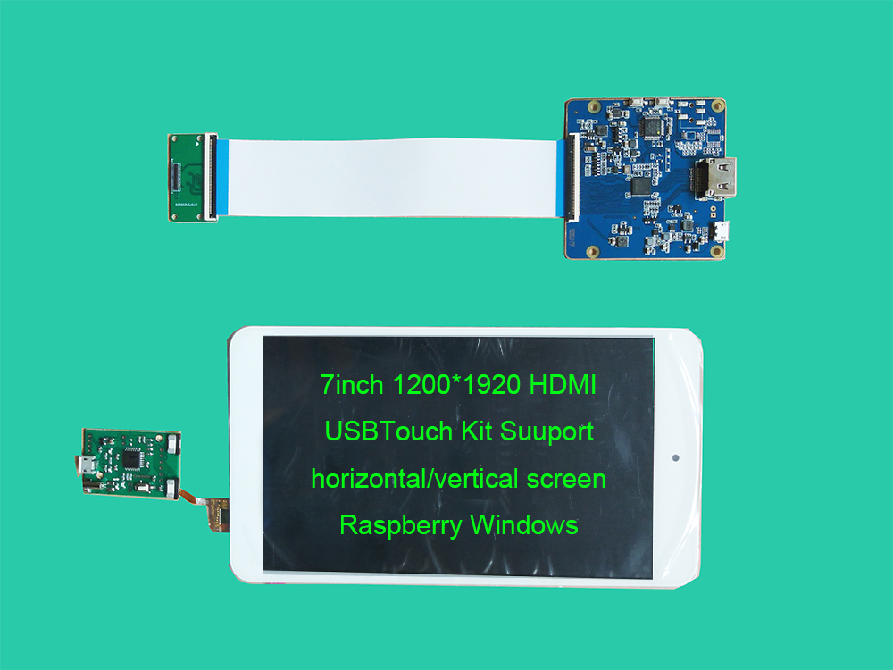 7inch 1200 1920 Raspberry HDMI LCD Touch Kit Support horizontal vertical screen Support WIN7 WIN8 WIN10