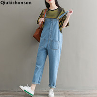 Qiukichonson Denim Overalls 2018 Spring Summer BF Ankle Length Denim Jumpsuit Women Casual Big Pockets Harem Jeans Jumpsuits