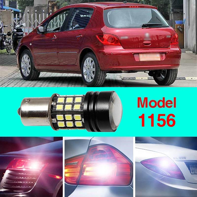 Error Free 1156 Socket 360 Degrees Projector Lens LED Backup Reverse light R5 Chips Replacement Bulb For Peugeot 307 2003-2012 ruiandsion 2x75w 900lm 15smd xbd chips red error free 1156 ba15s p21w led backup revers light canbus 12 24vdc