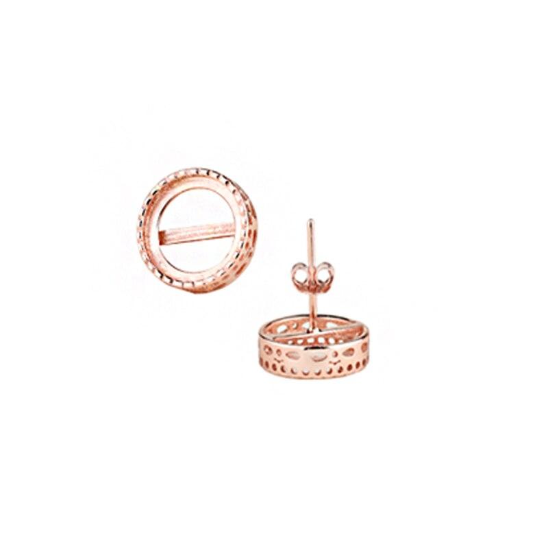 Стерлингового серебра 925 Белое золото Цвет розовое золото Цвет Для женщин полу крепление Серьги-гвоздики для 10 мм круглый кабошон янтарь оп...