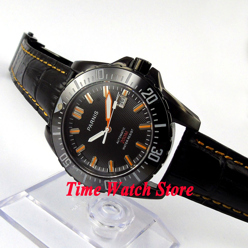 Parnis watch 43mm Black dial Sapphire glass Ceramic Bezel PVD Diver Automatic movement Men's watch 186 цена