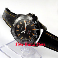 Parnis watch 43mm Black dial Sapphire glass Ceramic Bezel PVD Diver Automatic movement  Men's watch 186