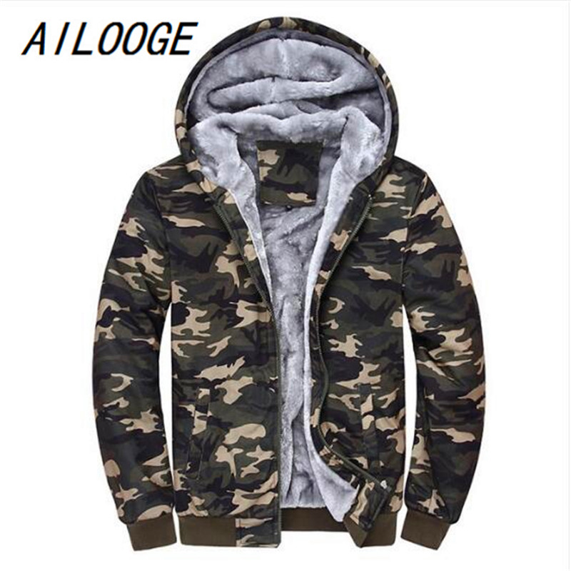 AILOOGE 2018 Autumn Winter Men's Jacket Hooded Coat Camouflage Hoodies Army Green Mens Clothing Fleece Male Sweatshirts 4XL