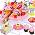 87pcs/ Lot Cutting Birthday Cake Kitchen Toys Sets Baby Early Educational Toys Cartoon Fruit Cake Plastic Model Toys Gift