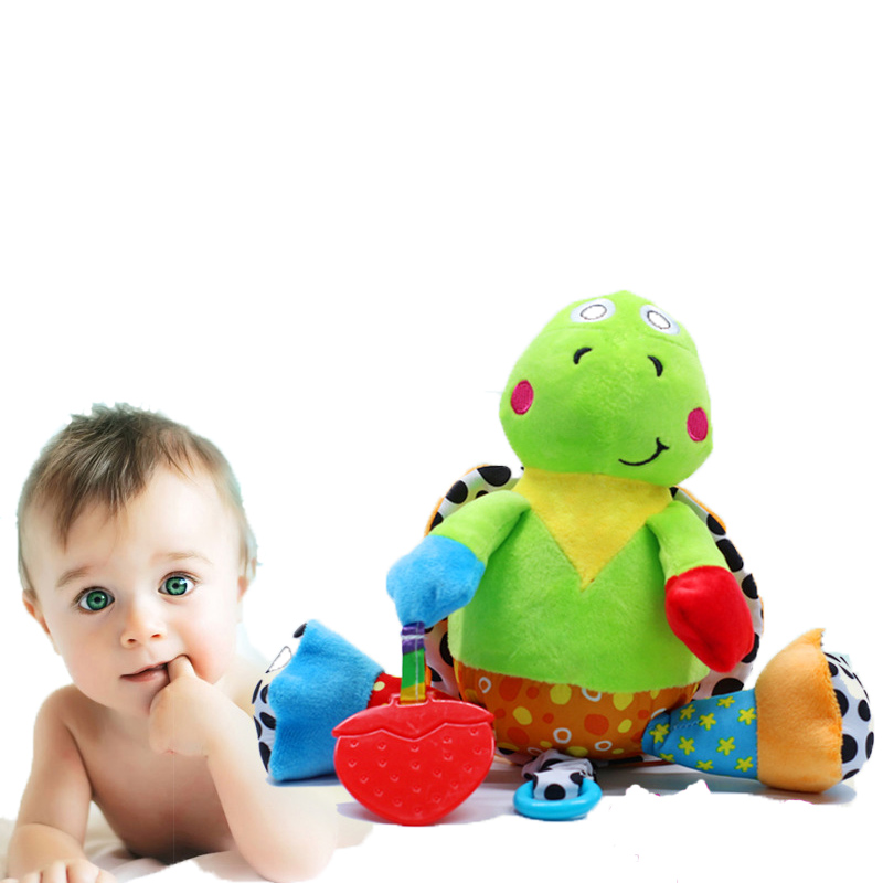 Cartoon Tortoise Stuffed Plush Rattles Toys For Baby Strollers For Dolls Bed Hanging Handbell Music Rattle Popular Toys