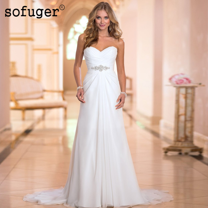 2019 Chiffon Beading Sexy Beach Vintage Sweetheart Pleat Wedding Dress Robe De Mariee Sofuge Boho Dubai