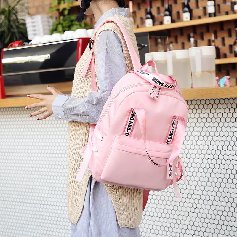 Menghuo Large Capacity Backpack Women Preppy School Bags For Teenagers Female Nylon Travel Bags Girls Bowknot Backpack Mochilas (14)